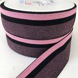 Gestreept elastiek 40mm zwart/roze_