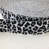 Leopard elastiek 40mm zwart/grijs/wit_