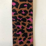 Leopard elastiek 40mm caramel/roze_
