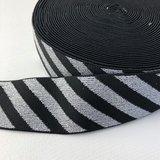 Zwart zilver streep elastiek 40mm _