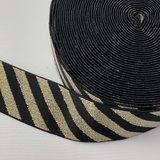 Zwart goud streep elastiek 40mm _