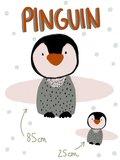 Lillestoff - Paneel pinguin kussen/knuffel KATOEN €21,30 p/stuk GOTS_
