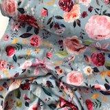 Verhees GOTS  - Flowers light blue €12,90 p/m jersey (GOTS) _
