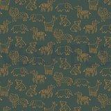 COUPON 105CM Verhees Green dieren SOFT SWEAT - €13,50 p/m GOTS_
