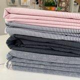 Ecological Textiles - Pink/white Fine stripes poplin €22,50 GOTS_