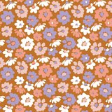 Verhees GOTS  - Dark apricot flower €13,50 p/m jersey (GOTS) _