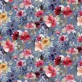 Verhees GOTS  - Blue shadow flower €14,90 p/m jersey (GOTS) _