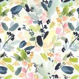 Cloud 9 - Floral in Indigo - Cotton Sateen €22 p/m (biokatoen)_