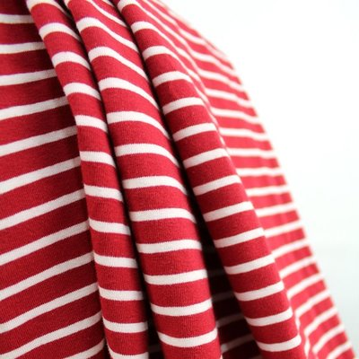 cherry red/white stripes €19,80 p/m GOTS