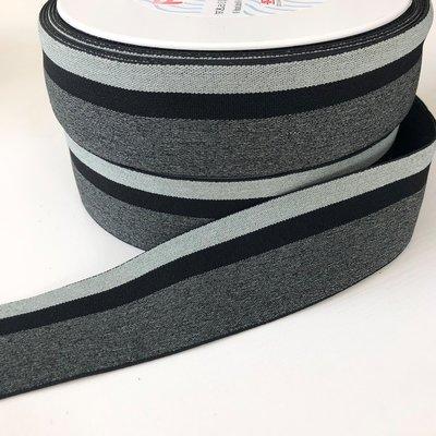 Gestreept elastiek 40mm zwart/grijs