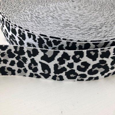 Leopard elastiek 40mm zwart/grijs/wit