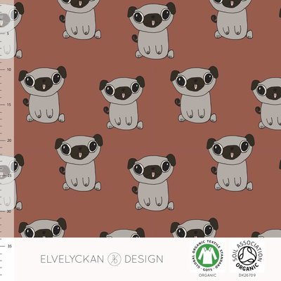 COUPON 45cm Elvelyckan  - Pug Rusty €25,50 p/m stretch college (GOTS)