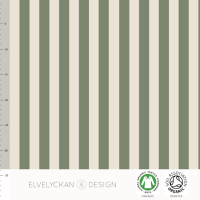 COUPON 65cm Elvelyckan  - Green stripes €24 p/m jersey (GOTS)