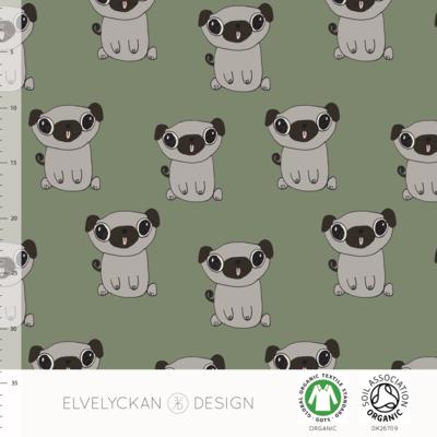Elvelyckan  - Pugs green €24 p/m jersey (GOTS)