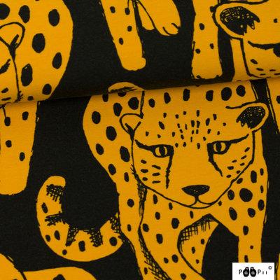 Paapii - Cheetah oker/zwart jersey €24 p/m GOTS