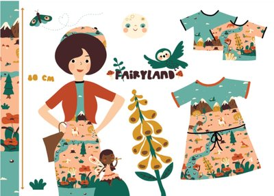 Lillestoff - Paneel 80cm Fairyland summersweat/french terry €16,50 p/s GOTS