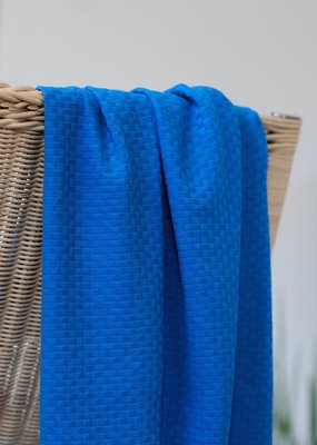 Laatste 110cm! mindtheMAKER - Organic Cotton Wicker INTENSE BLUE €23,50 p/m