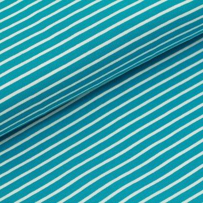 Stoffonkel - Dark Turquoise stripes JERSEY €19,80 p/m GOTS