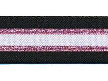 Glitter roze zwart elastiek 30 mm