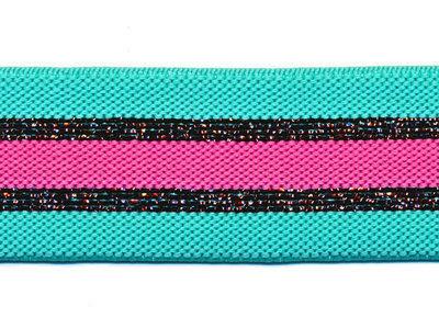 Glitter turquoise roze elastiek 30 mm