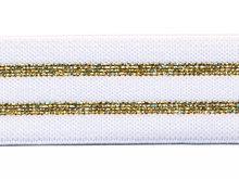 Glitter wit goud elastiek 30 mm