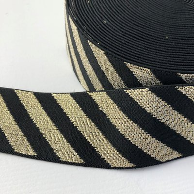 Zwart goud streep elastiek 40mm