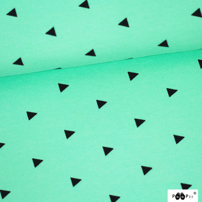 COUPON 50cm Paapii - Triangles mint stretch college €24 p/m GOTS