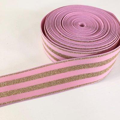 Roze goud gestreept elastiek 40mm