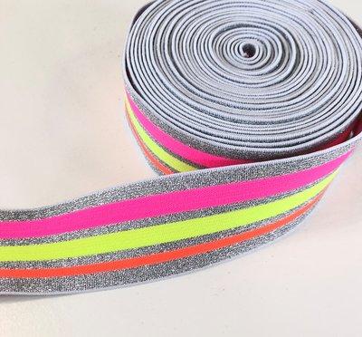 Neon gestreept elastiek 40mm
