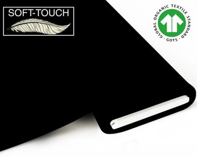 Fabrilogy - Zwart soft touch €11,70 p/m GOTS