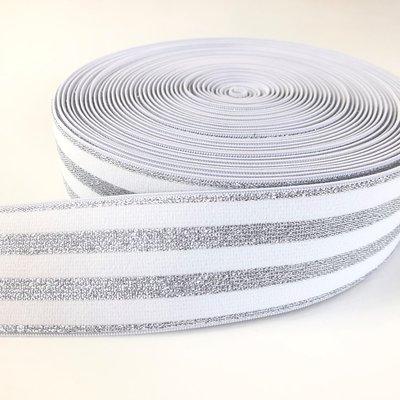 Wit zilver gestreept elastiek 40mm