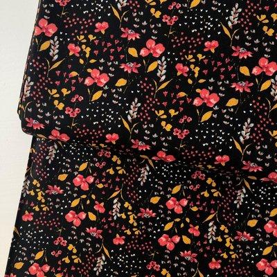 Verhees GOTS  - Zwart flowers €8,90 p/m katoen (GOTS)