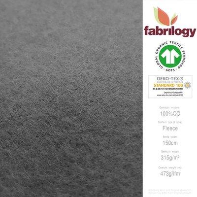 Fabrilogy - Donkergrijs Katoen Fleece  €20 p/m GOTS