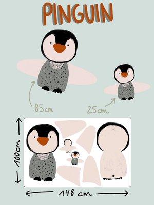 Lillestoff - Paneel pinguin kussen/knuffel KATOEN €21,30 p/stuk GOTS