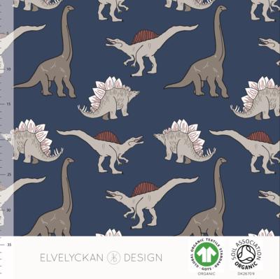 Elvelyckan  - Dino dark blue JERSEY €23 p/m (GOTS)