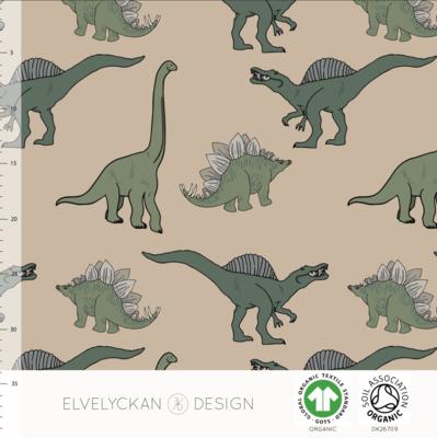 Elvelyckan  - Dino green/cappuccino COLLEGE €23 p/m (GOTS)