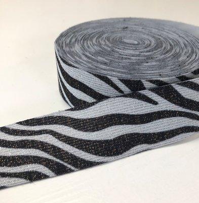 Zebra glitter elastiek 35mm