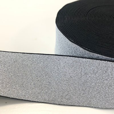 Zilver lurex elastiek 40mm