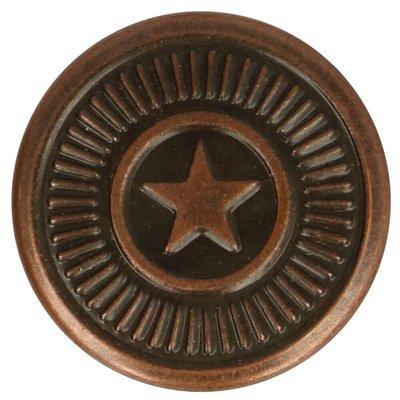 Jeansknopen 17mm ster rood-bronskleur