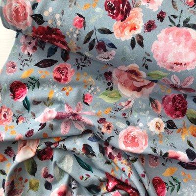 Verhees GOTS  - Flowers light blue €12,90 p/m jersey (GOTS)