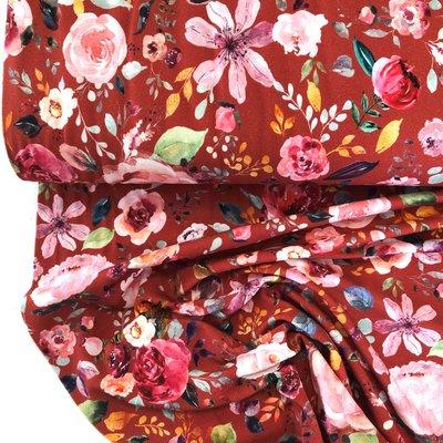 Verhees GOTS  - Flowers henna €12,90 p/m jersey (GOTS)