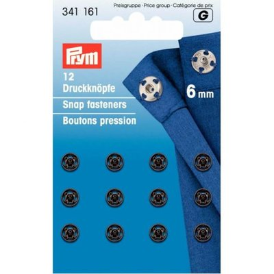Prym aannaaidrukknoop 6mm zwart - €2,60 p/s