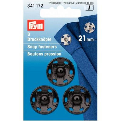 Prym aannaaidrukknoop 21mm zwart - €2,60 p/set