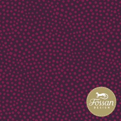 COUPON 50cm Fossan - Stone Dots Magenta FRENCH TERRY €23,50 p/m GOTS