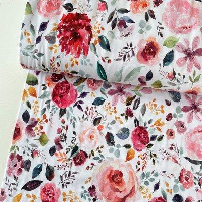 Verhees GOTS  - Flowers white €12,90 p/m jersey (GOTS)
