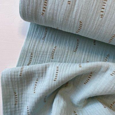 Verhees GOTS  - Light blue dotted lines - Double Gauze/hydrofiel €8,90 p/m (GOTS)