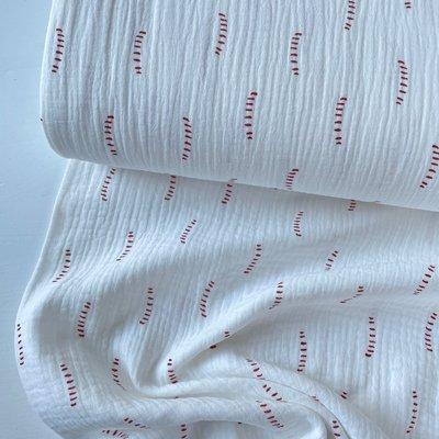 Verhees GOTS  - White dotted lines - Double Gauze/hydrofiel €8,90 p/m (GOTS)