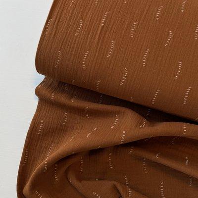 Verhees GOTS  - Cognac dotted lines - Double Gauze/hydrofiel €8,90 p/m (GOTS)
