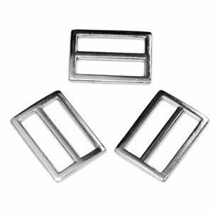 Zilver metalen schuifgesp rechthoekig 30mm