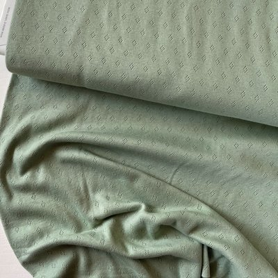 COUPON 110cm Hilco - Pointelle Dusty green €14,50 p/m OEKOTEX
